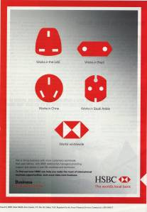 hsbc the world's local bank advertisement sockets
